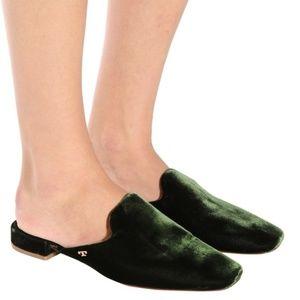 Tory Burch Carlotta Velvet Slides, Green 6M